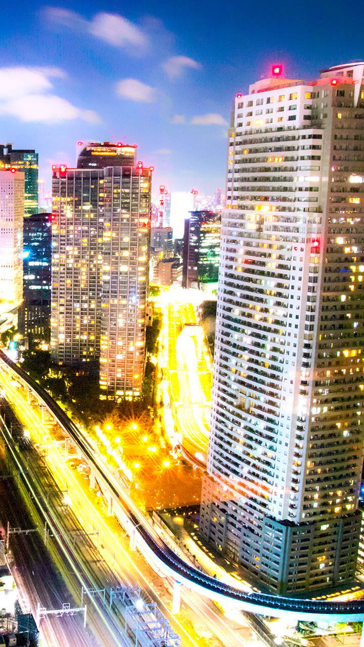 東京の夜景のiphoneスマホ無料壁紙 待ち受け N25 フォトック
