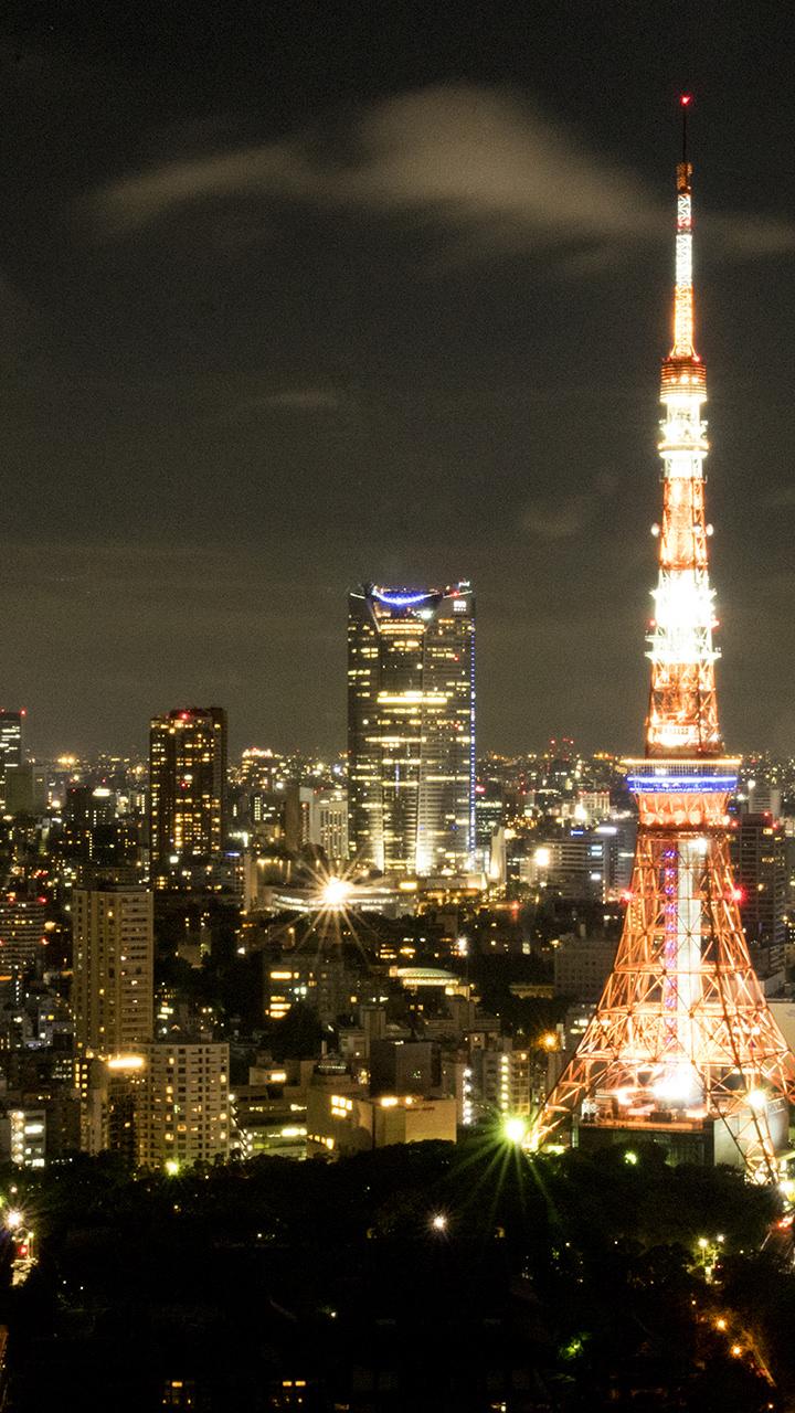 東京タワーの夜景のiphoneスマホ無料壁紙 待ち受け 2593 フォトック